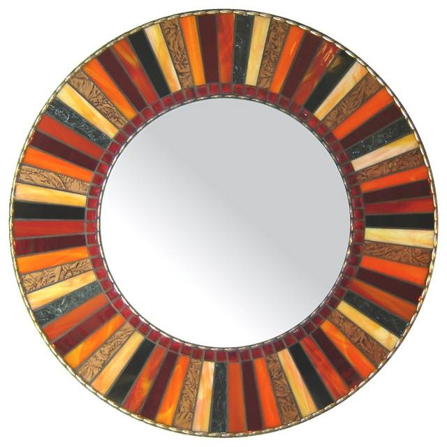 Round Mosaic Mirror – Red, Orange, Black (Handmade) – Contemporary Regarding Red Wall Mirrors (#28 of 30)