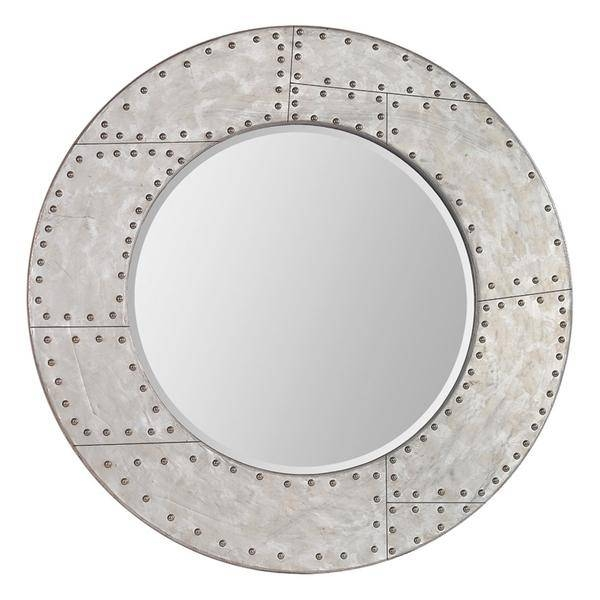 Round Rivet Accents Distressed Silver Round Mirror Throughout Distressed Silver Mirrors (#16 of 20)