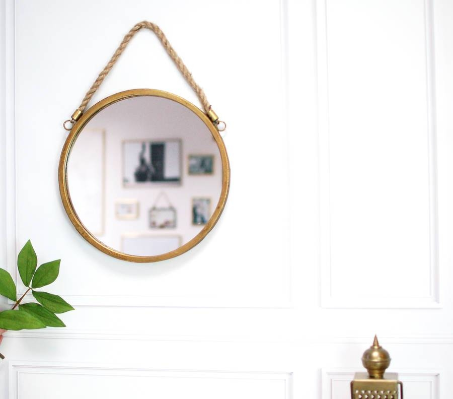 Round Rope Handled Gold Brass Scandi Porthole Mirrormade With Within Round Porthole Mirrors (View 26 of 30)