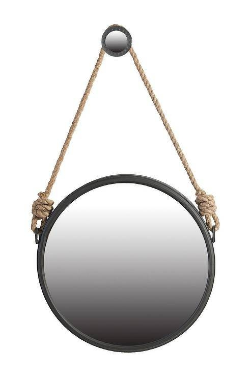 Round Rope Hung Mirror Inside Black Round Mirrors (#19 of 20)