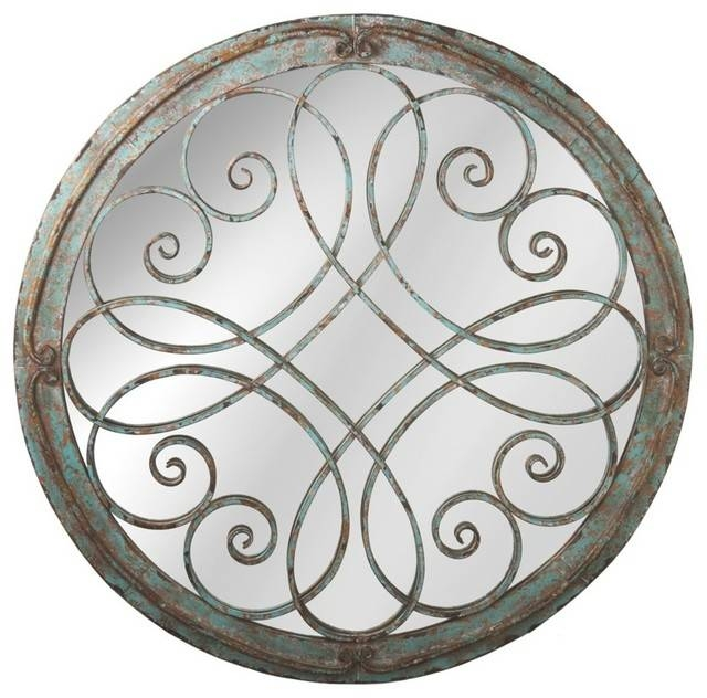Round Scroll Wall Mirror, Distressed Blue – Farmhouse – Wall Pertaining To Blue Round Mirrors (#26 of 30)