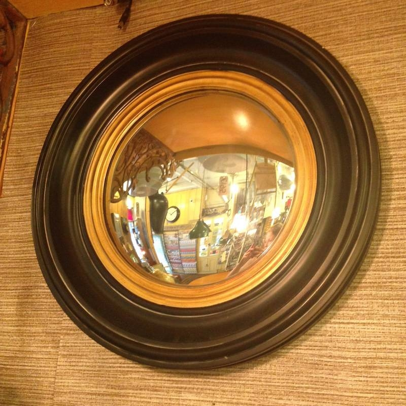 Round Ships Convex Mirror Black And Gold Frame D:40Cm For Black Convex Mirrors (#15 of 20)