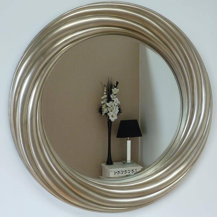 Round Twist Champagne Mirror 110Cm | Exclusive Mirrors Within Champagne Silver Mirrors (#12 of 15)