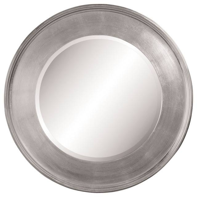 "Round Wall Mirror, Silver Leaf, 21"" – Transitional – Wall Mirrors Inside Circular Wall Mirrors (#18 of 20)"