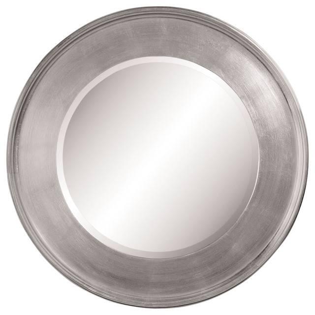 "Round Wall Mirror, Silver Leaf, 21"" – Transitional – Wall Mirrors Intended For Round Silver Mirrors (#25 of 30)"