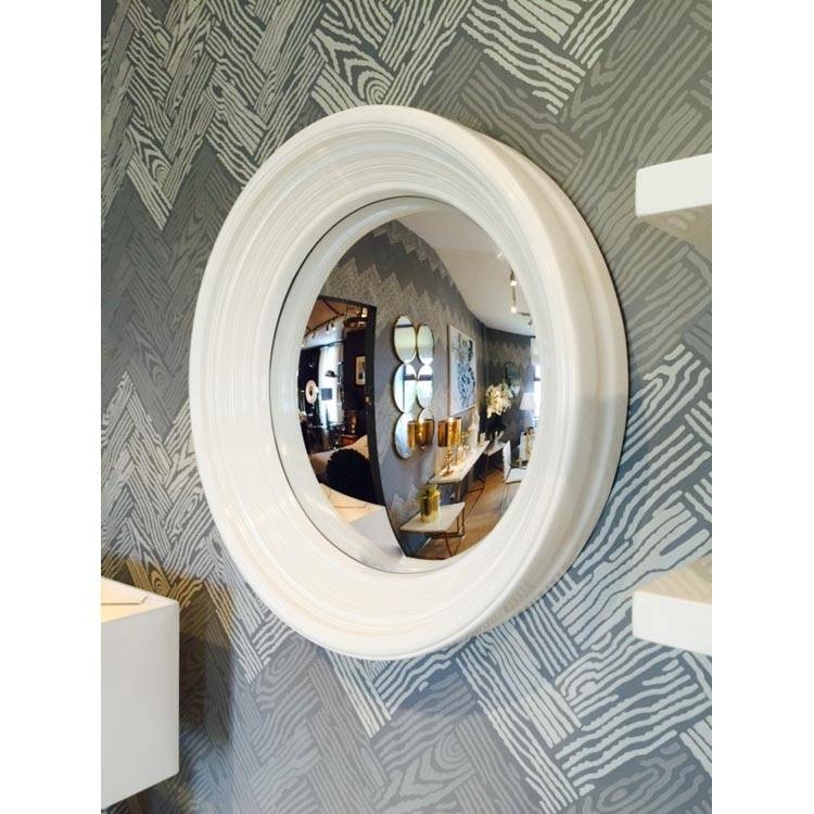 Round White Framed Convex Porthole Mirror 65Cm Round White Frame For Convex Porthole Mirrors (#11 of 15)