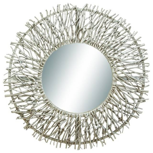 Round Wood Metal Wall Mirror Tree Branch Silver Chrome Decor 69158 With Contemporary Wall Mirrors (#17 of 20)