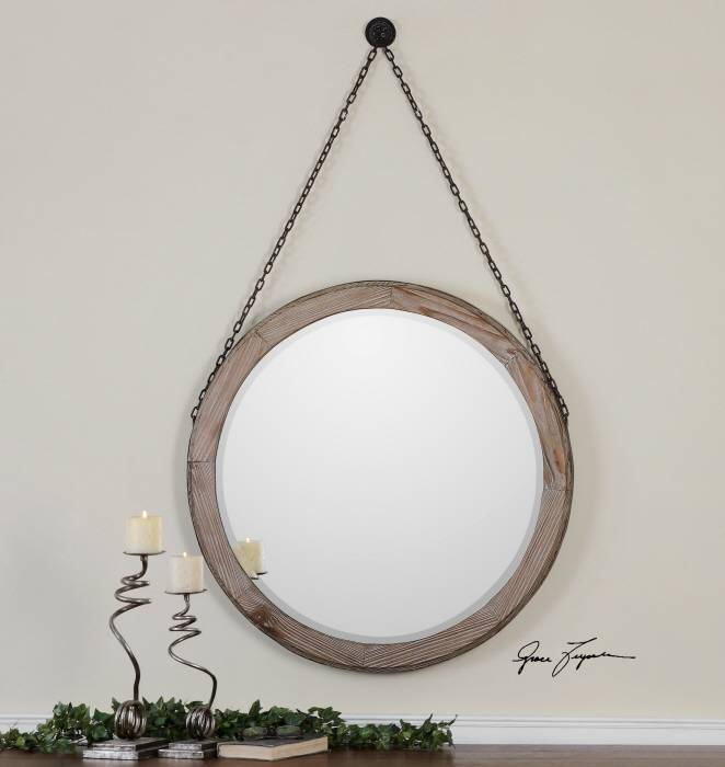 """Round Wood Wall Mirror On Chain Large 34"""" 