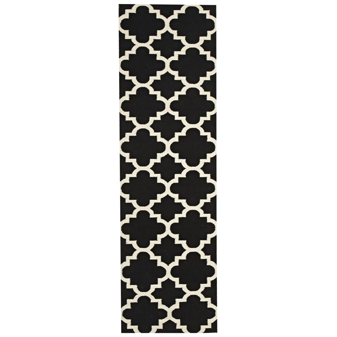 Rover Flat Weave Designer Hall Runner 80 X 300cm Quatrefoil For Hallway Runners Black And White (#16 of 20)
