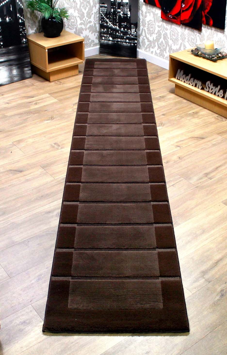 Rrp 8999 Extra Long Thick Hallway Runner Rugs Chocolate Brown Within Extra Long Hallway Runners (#19 of 20)