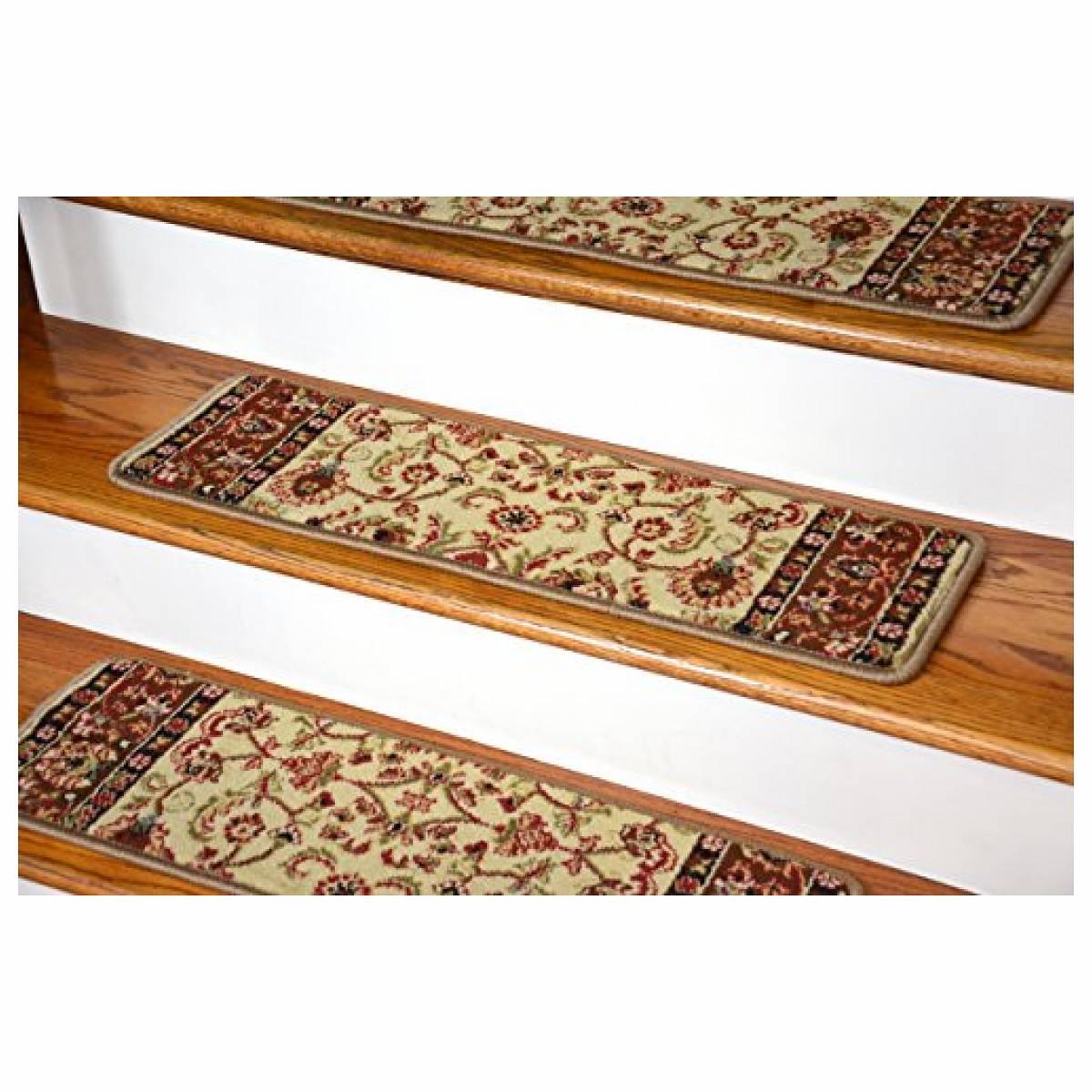 Rugs Carpet Elegant Carpet Stair Treads With Classic Pattern Regarding Stairway Carpet Treads (#18 of 20)