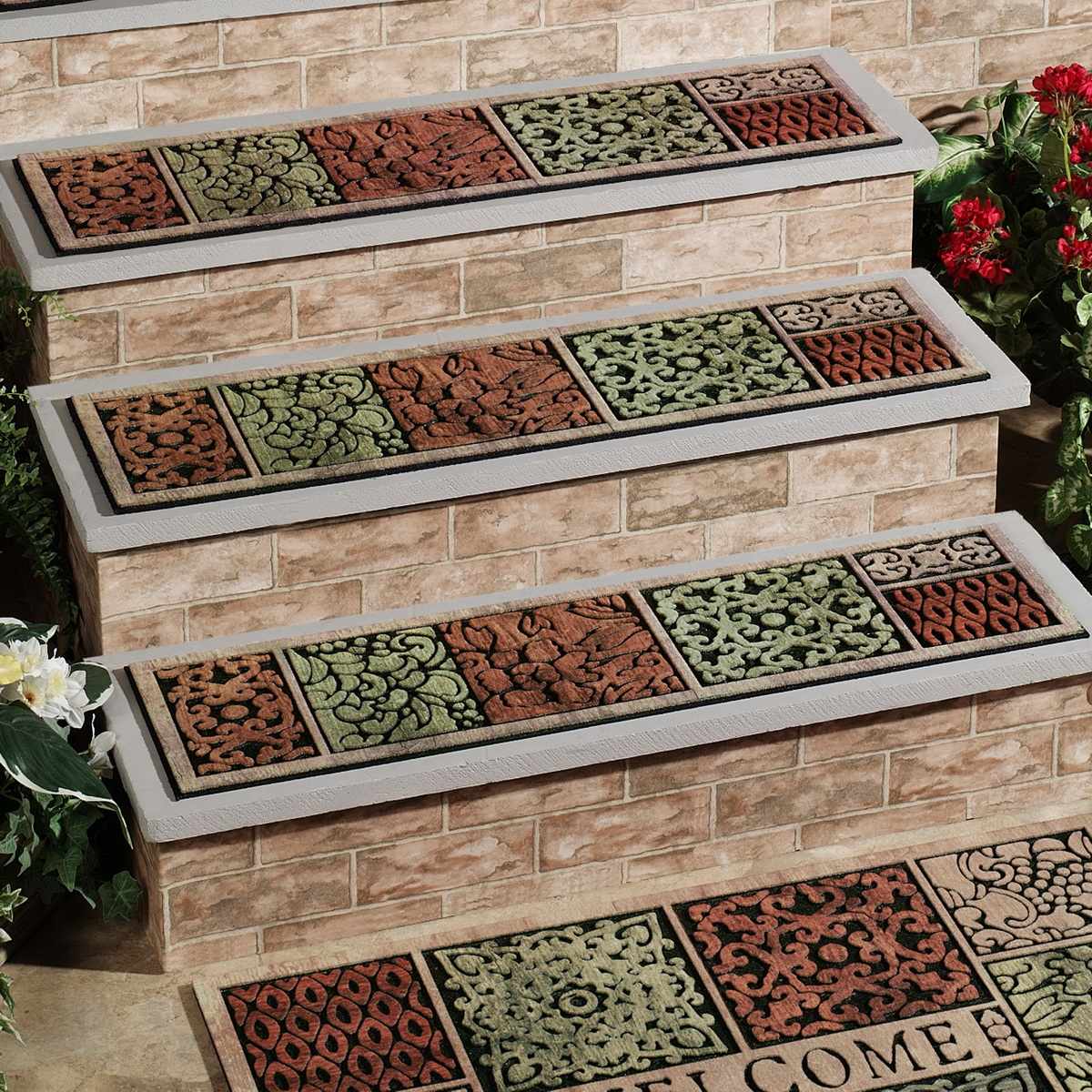 Rugs Carpet Elegant Carpet Stair Treads With Classic Pattern With Regard To Stair Tread Carpet Rugs (#18 of 20)