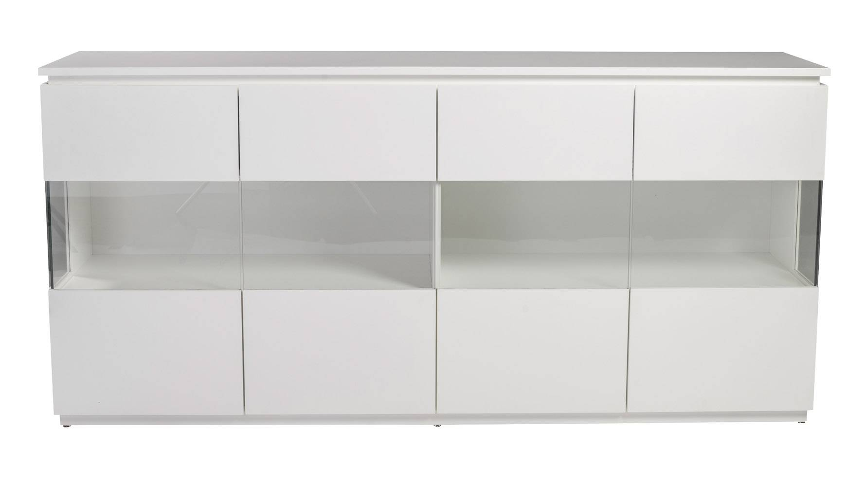 Russell Sideboard In Matte White Lacquer With Clear Tempered Glass Regarding White Glass Sideboard (View 3 of 20)