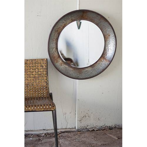 Rustic Large Round Metal Mirror Kalalou Wall Mirror Mirrors Home Decor In Large Metal Mirrors (#28 of 30)