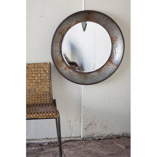 Rustic Large Round Metal Mirror Kalalou Wall Mirror Mirrors Home Decor Regarding Large Round Metal Mirrors (View 27 of 30)