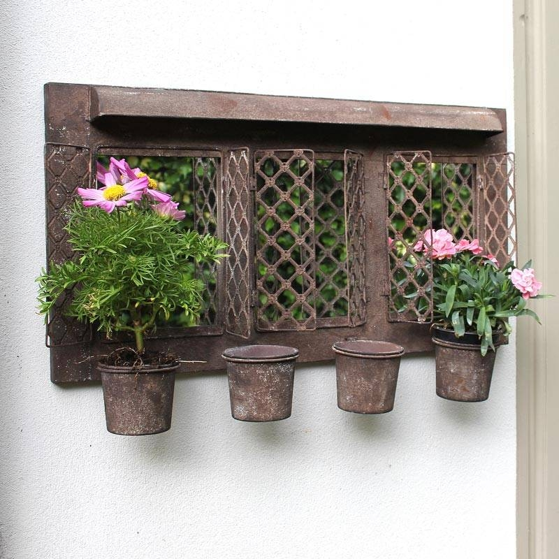 Rustic Metal Garden Mirror With Four Planters – Melody Maison® Intended For Metal Garden Mirrors (#28 of 30)