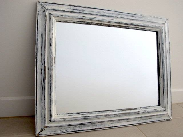 Rustic Mirror Blue & White Distressed Wooden Mirror Shabby Within White Shabby Chic Mirrors (#24 of 30)