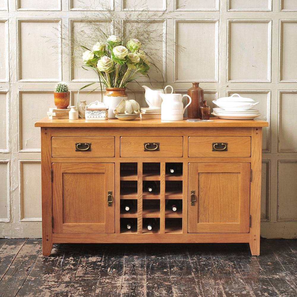 Rustic Oak Sideboard With Wine Rack Including Free Delivery Within Sideboards With Wine Racks (#10 of 20)
