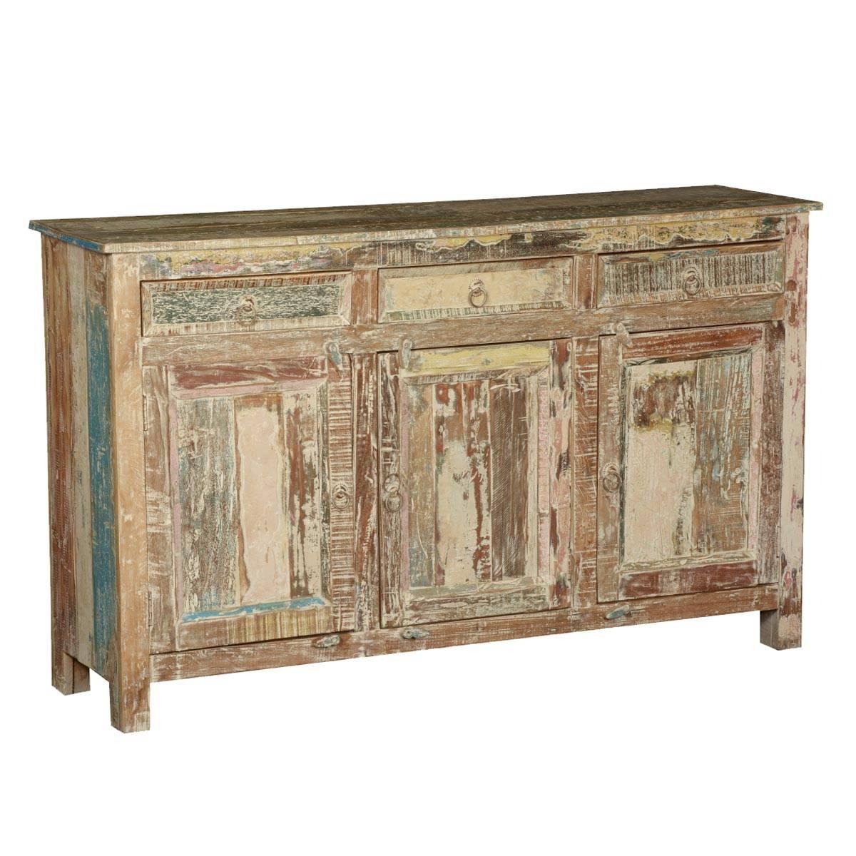 Rustic Reclaimed Wood Distressed Sideboard Cabinet Inside Distressed Sideboard (#11 of 20)