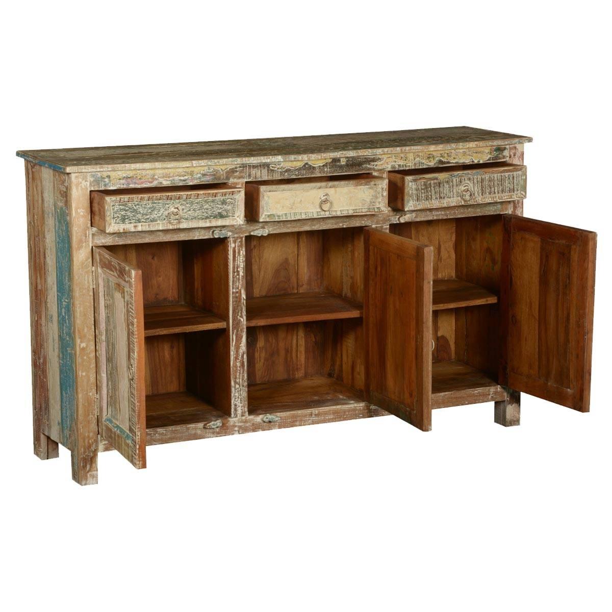 Rustic Reclaimed Wood Distressed Sideboard Cabinet Throughout Distressed Sideboard (#12 of 20)