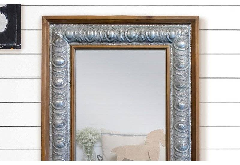 Rustic Wood Framed Mirror, Metal Framed Mirror, Farmhouse Decor With Regard To Iron Framed Mirrors (#17 of 20)
