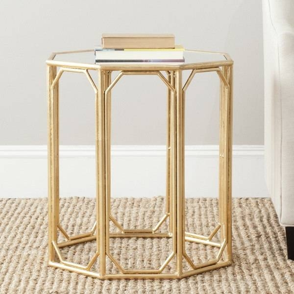 Safavieh Treasures Muriel Gold/ Mirror Top Accent Table – Free With Regard To Gold Table Mirrors (View 18 of 20)