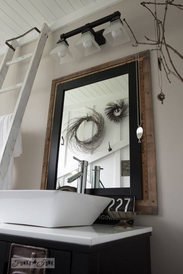 Salvaged Farmhouse Bathroom Makeover With Vintage Trimfunky Junk Throughout Funky Bathroom Mirrors (#29 of 30)