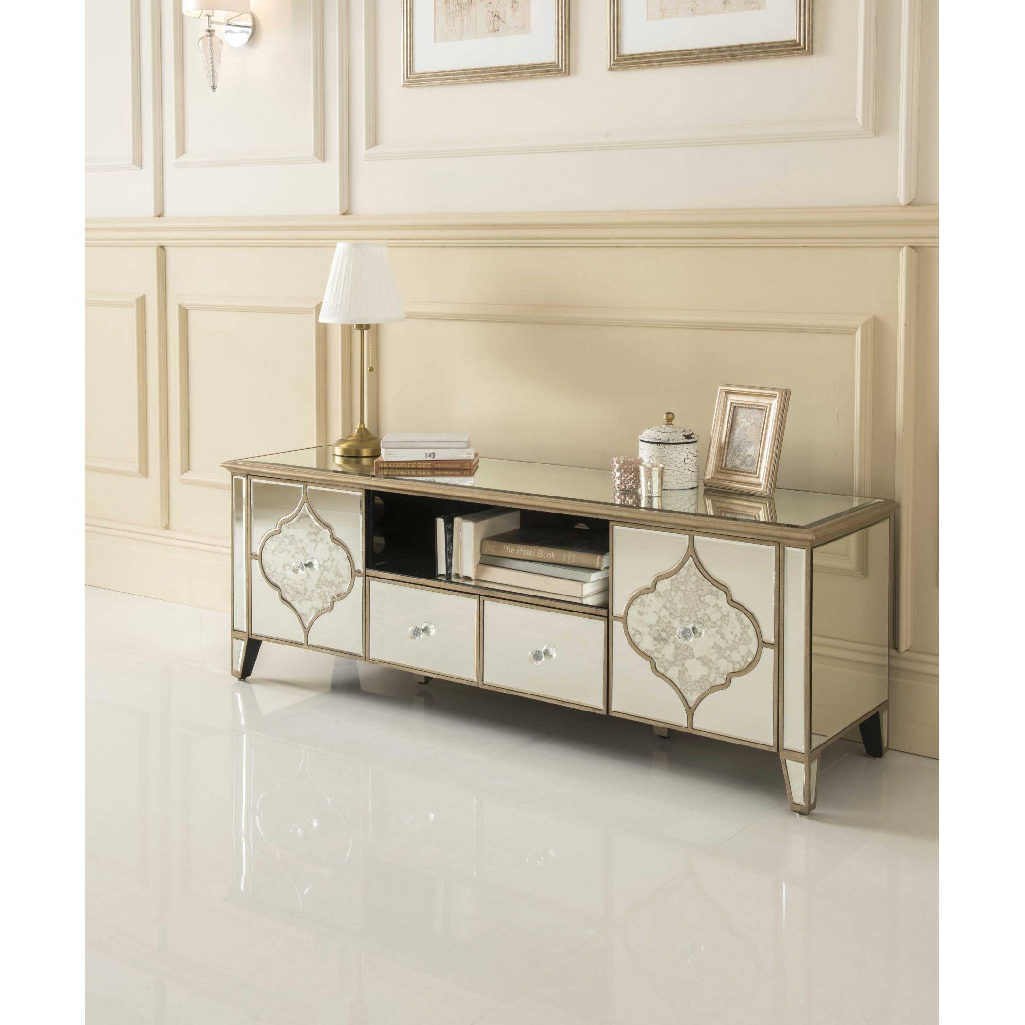 Sassari Mirrored Tv Cabinet | Glass Furniture With Regard To Venetian Mirrored Sideboard (#16 of 20)