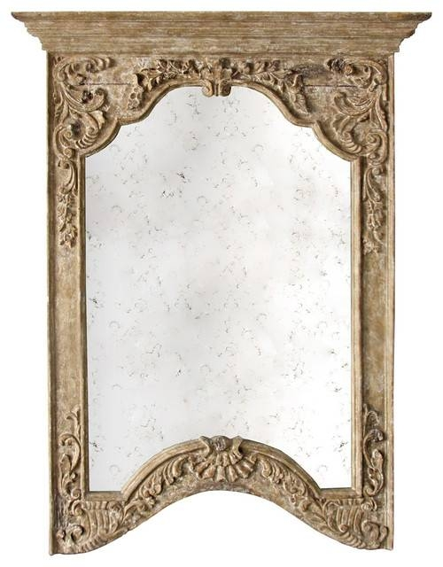 Saxony French Provencal Antique Carved Pedestal Arched Mirror Within French Wall Mirrors (View 3 of 20)
