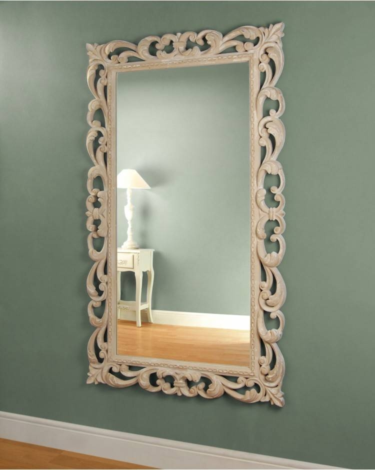 Scampston Large Cream Ornate Wall Mirror For Large Cream Mirrors (#28 of 30)