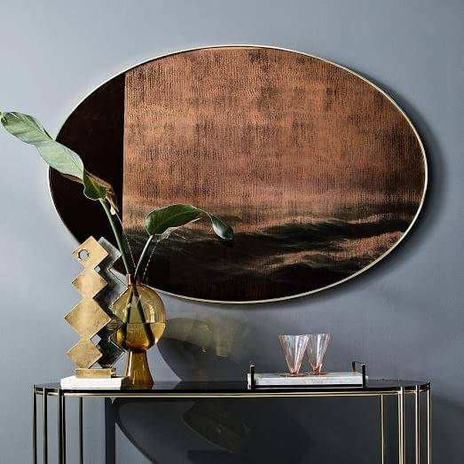Scenery Wall Mirror – Large Oval | West Elm In Large Oval Wall Mirrors (#27 of 30)