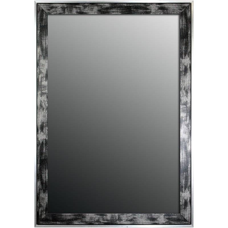 Second Look Mirrors Scratched Wash Black And Brushed Silver Trim Pertaining To Long Silver Wall Mirrors (#12 of 15)