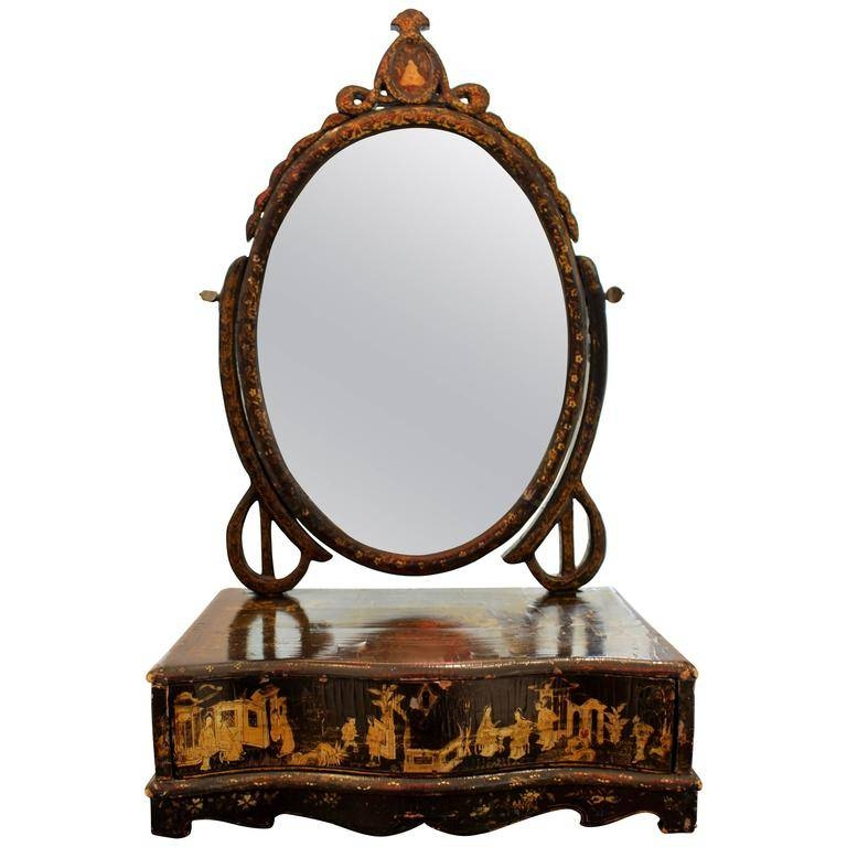 Serpentine Front Chinese Gilt Decorated Chinoiserie Dressing Table Within Dressing Table Mirrors (View 19 of 20)