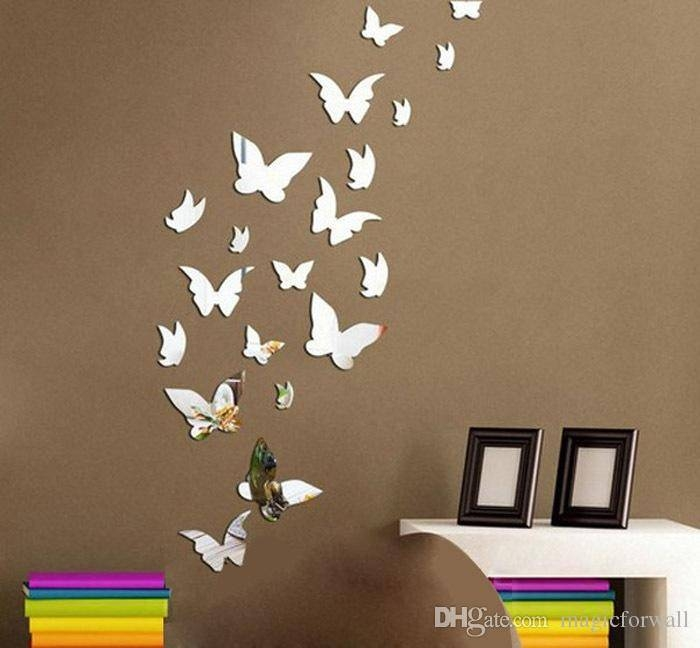 Set 3D Butterfly Mirror Effect Wall Decal Sticker Diy Home Pertaining To Butterfly Wall Mirrors (#19 of 20)