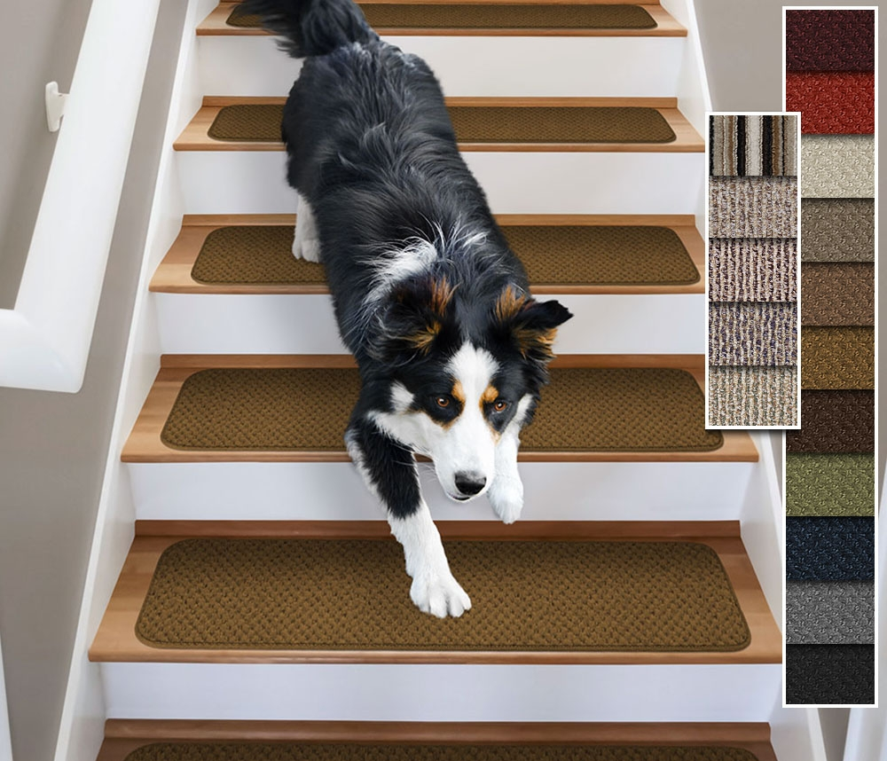 Set Of 15 Attachable Carpet Stair Treads 4 Sizes16 Colors Rug Intended For Carpet Stair Treads Set Of  (#17 of 20)