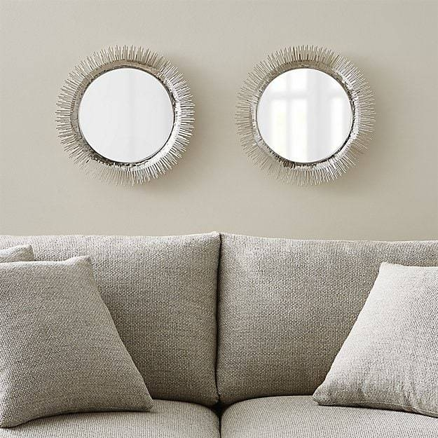 Set Of 2 Clarendon Small Round Silver Wall Mirror | Crate And Barrel In Round Silver Mirrors (#26 of 30)