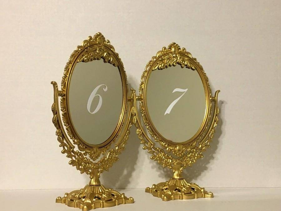 Set Of Gold Fairytale Ornate Mirror Table Numbers/beautiful Gold Pertaining To Gold Table Mirrors (View 2 of 20)