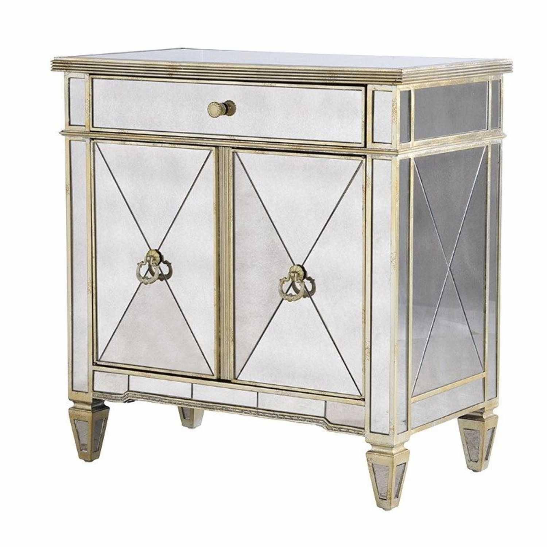 Seville Venetian Glass 2 Door 1 Drawer Mirrored Cabinet Throughout Venetian Mirrored Sideboard (#17 of 20)