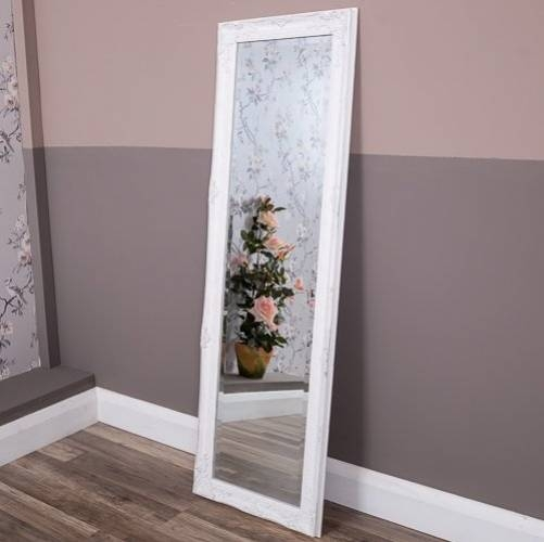 Shabby Chic And Vintage White Ornate Tall Mirror Intended For Shabby Chic Long Mirrors (#23 of 30)