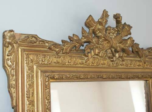 Shabby Chic Antique French Gold Crested Mirror C 1890 Within French Antique Mirrors (View 30 of 30)
