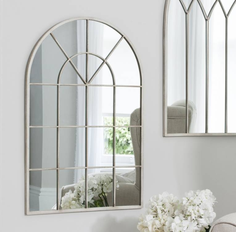 Shabby Chic Arched Window Mirror Pertaining To Shabby Chic Window Mirrors (View 2 of 20)