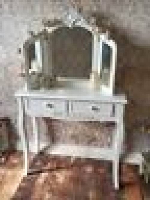 Shabby Chic Cream Triple Folding Mirror For Dressing Table Vintage Within Free Standing Mirrors For Dressing Table (#27 of 30)