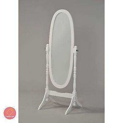 Shabby Chic Floor Mirror White Finish Standing Bedroom Large Wood Intended For Vintage Standing Mirrors (View 6 of 30)