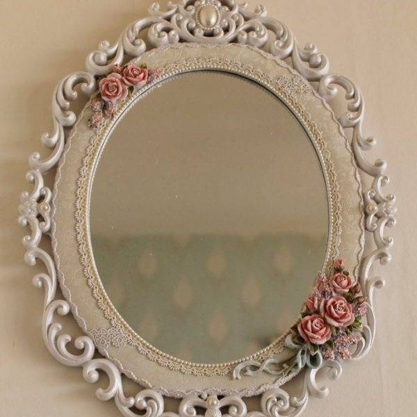 Shabby Chic Ivory White Oval Wall Mirror Pink Roses & Rosebuds Regarding White Shabby Chic Wall Mirrors (#18 of 20)