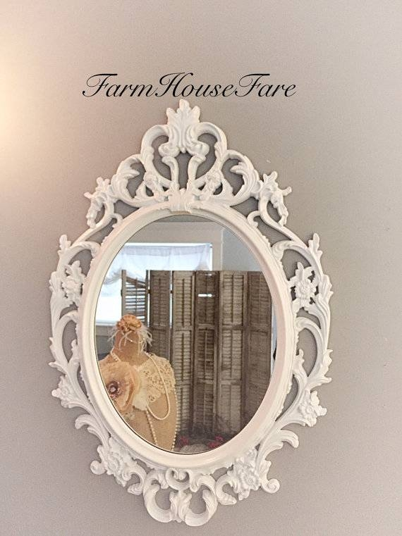 Shabby Chic Mirror Bright White Oval Ornate Mirror Large Regarding Baroque White Mirrors (#17 of 20)