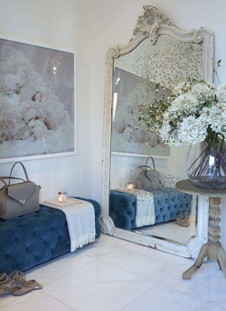 Shabby Chic Mirror Hall Contemporary With Marble Hall Oversized Within White Large Shabby Chic Mirrors (#26 of 30)
