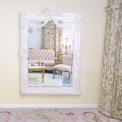 Shabby Cottage Chic Large Wall Mirror Rococo White French Vintage With Regard To Shabby Chic Large Wall Mirrors (#19 of 20)