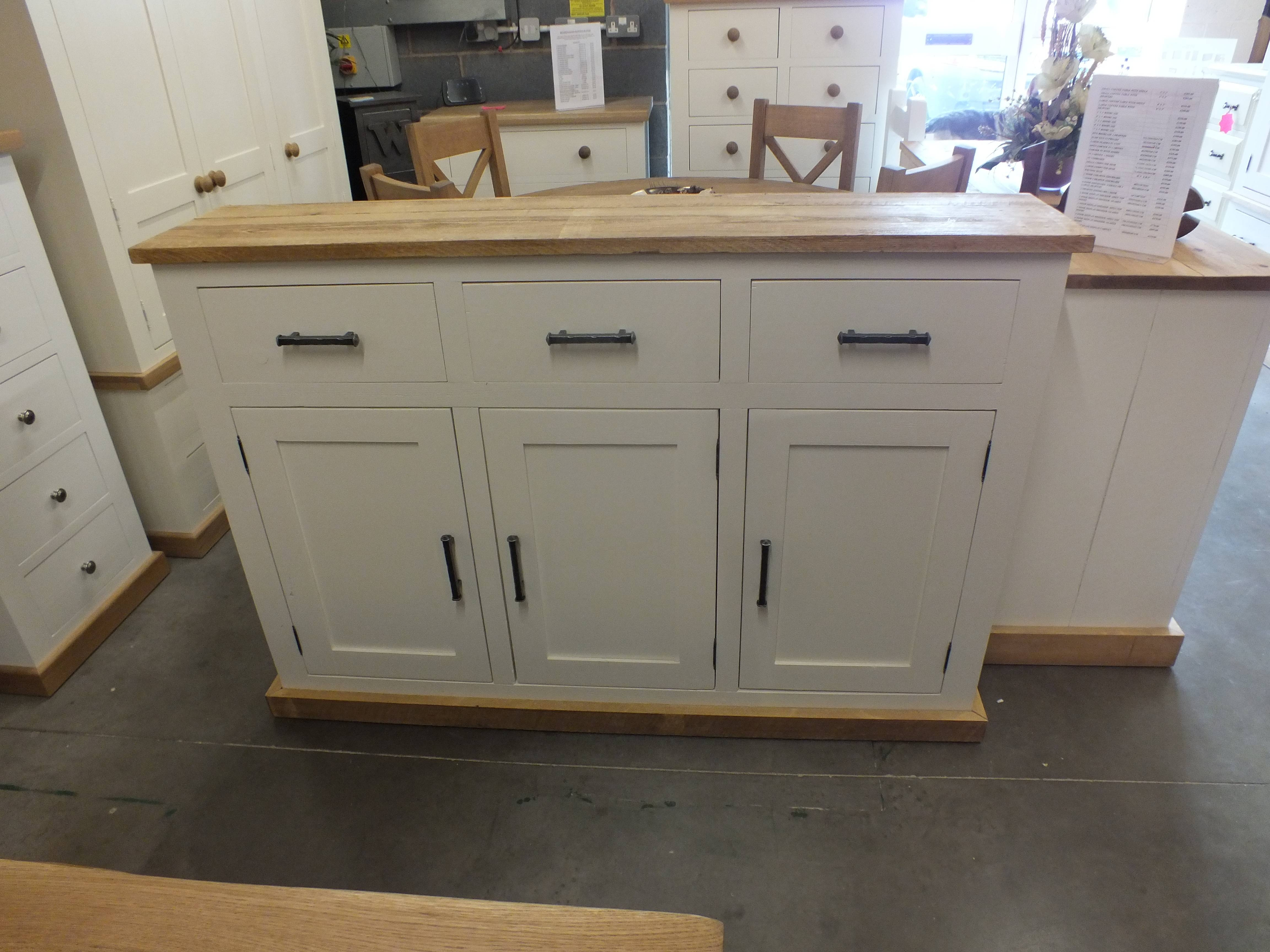 Shabby Painted Large 3 Door Narrow Sideboard F&b Pointing Buy Online Within Narrow Sideboards (View 10 of 20)