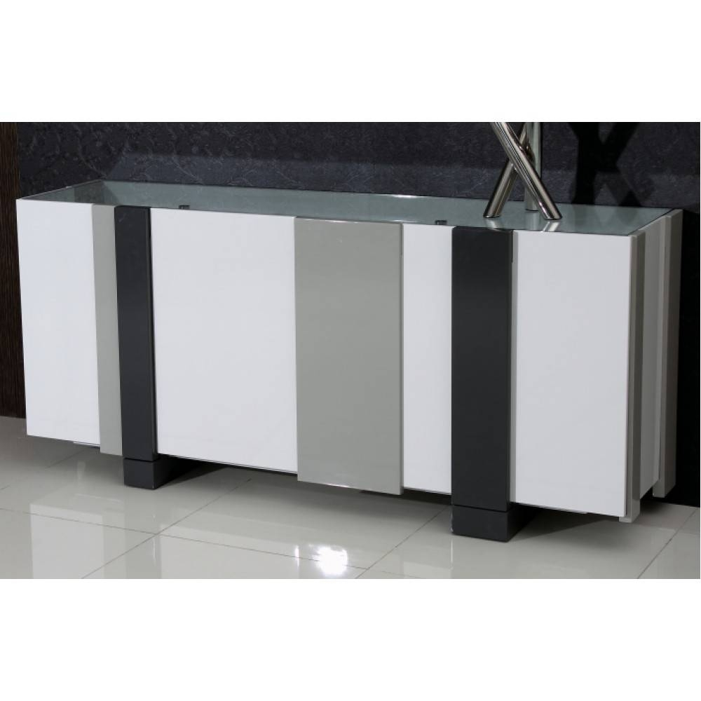 Shelley Modern 4 Door Buffet Glass Top, Chintaly Imports Furniture Within Glass Top Sideboard (#12 of 20)