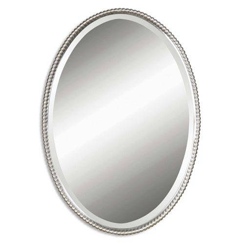Sherise Brushed Nickel Oval Mirror Uttermost Wall Mirror Mirrors Intended For Oval White Mirrors (#27 of 30)
